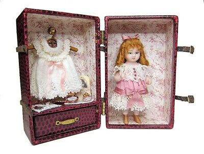 Miniature Porcelain Antique Reproduction Doll with Trunk and Accessories-Artisan