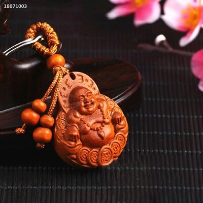 Natural Rosewood Buddha Auto Car Key Chain Ring Pendant Beautiful Decor 91C5
