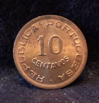 1949 Portuguese Angola (Colony) 10 centavos, red brown UNC, KM-70 (AN6)