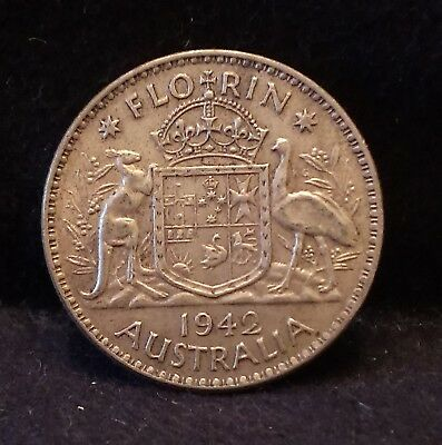 1942(m) Australia silver florin, Melbourne mint, WWII issue, KM-40 (AS7)