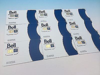 Pack Of 10 Bell  Mobility 4G Lte Sim Cards - Nano Micro Standard 3 In 1 Combo