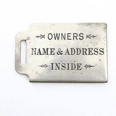 """Owners Name & Address Inside Vintage Metal Key Chain or Luggage Tag 2.25"""""""