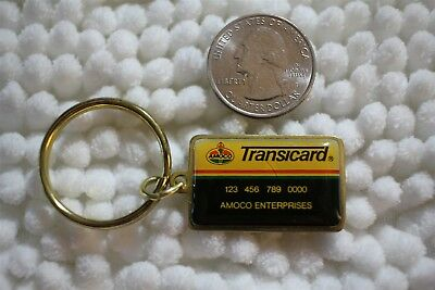 Amoco Transicard Fleet Credit Card Gas Oil Station Keychain Key Ring #26596
