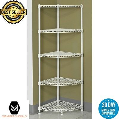 Muscle Rack Corner Shelving Unit White 5-Tier Steel Wire Storage Garage Utility