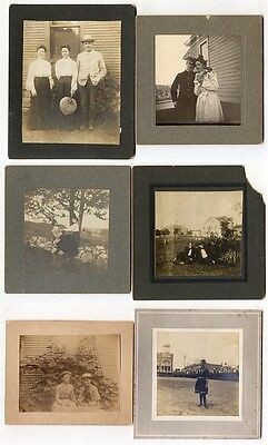 6 Outdoor Cab Card Photos of People (c1891-1905)