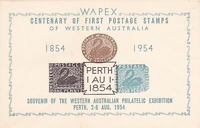 APD75) WAPEX 1954 centenary exhibition card bearing reproductions