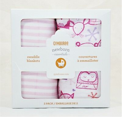 "New Gymboree 2 Pack Swaddle Blankets Newborn Party Animals Pals 42/"" x 42/"" NIB"