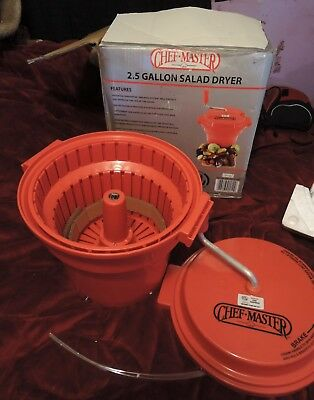 Chef Master 2.5 Gallon Commercial Salad Spinner Dryer With Brake