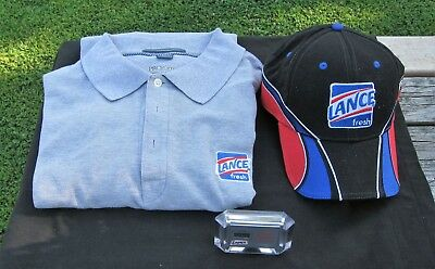Lance Crackers Jar Logo Grey Shirt-Nascar #47 Hat- Clock-All 3 For One Money