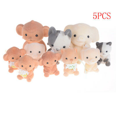 5pcs Flocking Doll Toys Mini Animals Decoration Toys For Girls Exquisite Gift LX