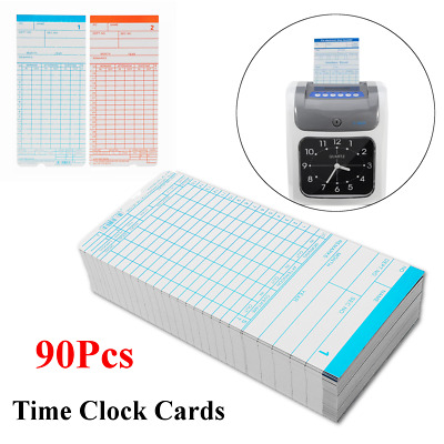 90Pcs Monthly Payroll Cards For Employee Time Attendance Bundy Clock Recorder