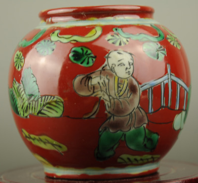 Chinese old hand-made five colours porcelain Hand painted figure vase b01