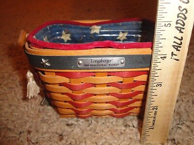 Longaberger 2001 Inaugural Basket Dresden Ohio w/  Liner / Protector & Star