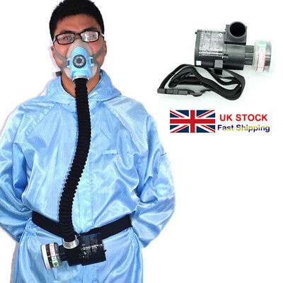 Electric Constant Flow Supplied Air Fed Half Face Gas Mask Respirator System New