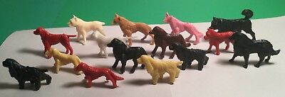 Vintage Lot Of Fifteen Small Plastic Toy Dog Figures Different Breeds Colors