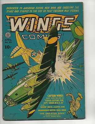 Wings Comics #20 Fn Golden Age 1942 Fiction House Wwii Japanese War Cover
