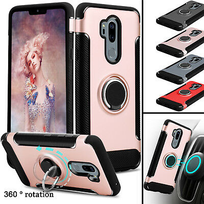 For LG G7 ThinQ Phone Case Shockproof Hybrid Ring Kickstand Hard TPU Armor Cover