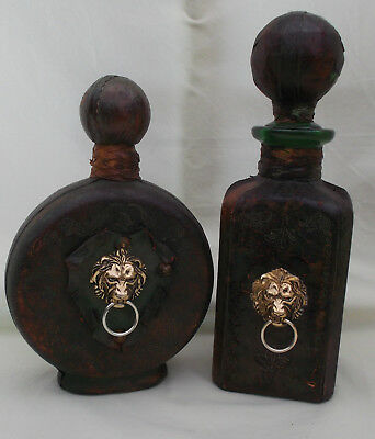 2 Vintage Decanter Leather Wrapped Liquor Bottles Made in Italy