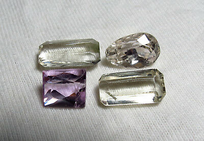 4pc NATURAL MIXED COLOR KUNZITE faceted LOOSE CUT GEMSTONE SET