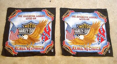 Lot of two Vintage HARLEY DAVIDSON Bandana Hanky Official Product