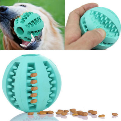 Pet Dog Puppy Cat Rubber Ball Chew Treat Dispensing Holder Toy Training Dental