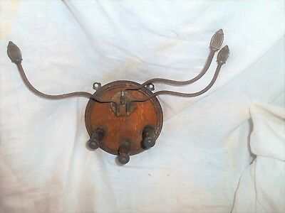Unusual Antique/vintage Coat/hat Rack. Wood And Metal. Wall Mounted. L@@k