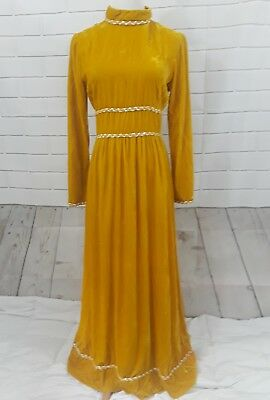 Womens Chartreuse Vintage Crushed Velvet Victorian Style Maxi Dress Costume 70s