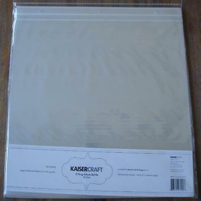 "D Ring Scrapbook Photo Album Refills 10 Large Sleeves 12 X 12"" Kaisercraft SA200"