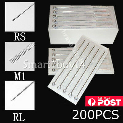 200X Sterile Tattoo Needles Kit Steel Round Liner Shader Varied Sizes Supplies K