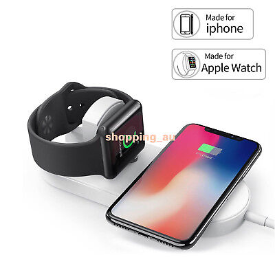 2 in 1 Wireless Qi Fast Charger Charging Pad Station For Apple iPhone X Samsung