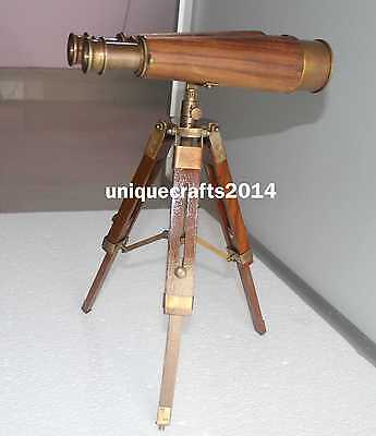 """Brass Nautical Antique Binocular Telescope With Tripod 9"""" Collectible Gift Item."""