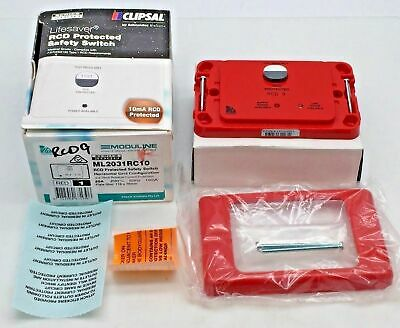 Clipsal ML2031RC10 RED 'RCD 9' Protected Safety Switch 20A 250V 10mA Horizontal.