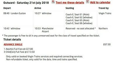 Family from London Euston to Manchester 21 July
