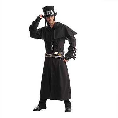 Mens Steampunk Black Duster Coat Adult Costume Cowboy Trench Halloween Vampire