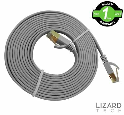 Grey RJ45 CAT7 Network Ethernet Cable 10Gbps Gigabit Ultra Thin Patch LAN Flat