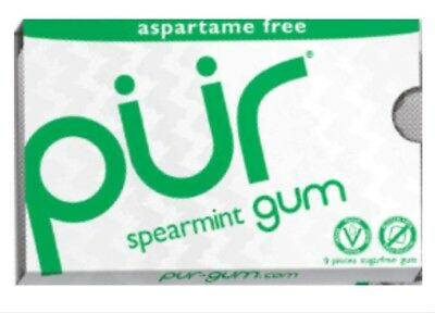 4 Packs of 9 Pieces of PUR Chewing Gum - SPEARMINT - Sugar Free - NEW