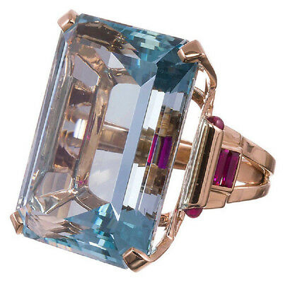 10.4CT Natural Emerald Cut Aquamarine Solitaire Engagement Ring
