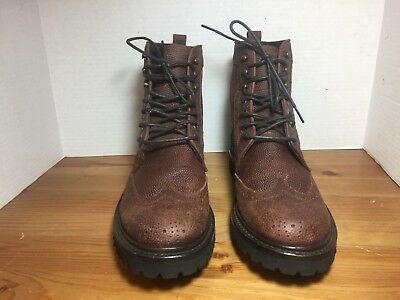 c376f218789 NEW WOLVERINE PERCY Wingtip Boot - Brown Pebbled Grain Leather - Size 8 1/2  D