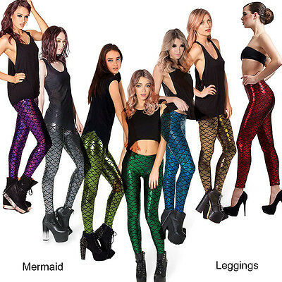 Holographic Mermaid Leggings Fish Scale Metallic Geometric Stretch Pants Trouser