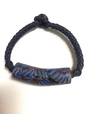 Authentic Thai Blessed Buddhist Wristband Fair Trade Wrist wear Blue Stone