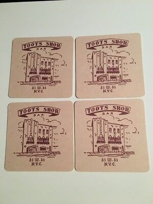 Set of 4 TOOTS SHOR NYC BAR Coasters ~ SINATRA Babe Ruth DiMaggio MONROE