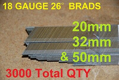 18 Gauge Angle Brads 26 Degree Assorted Length 20 / 32 + 50mm 3000 Total QTY