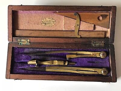 Vintage Antique BRASS  Drafting Drawing Set in Wood box