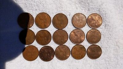 Lot Of 15 English Large One Cent Coins In Date Run 1964 To 1965 / Uk Copper