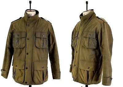 Men's BARBOUR TROOPER Khaki Green WAXED COTTON Shooting Farming Sports Jacket M