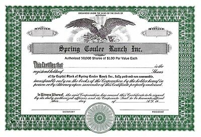 Spring Coulee Ranch, Inc., Montana, 19XX - SPECIMEN / Blankette / Not issued