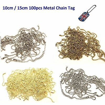 100pcs Metal Ball Chain with Connector Clasp String for Keychain Tags - 10/15cm