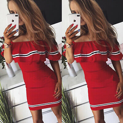 AU Women Striped Off Shoulder Short Sleeve Bodycon Evening Party Slim Mini Dress