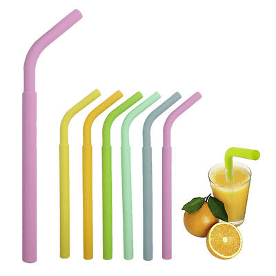 Color Practical Reusable Washable Food Grade Silicone Drinking Bent Straw