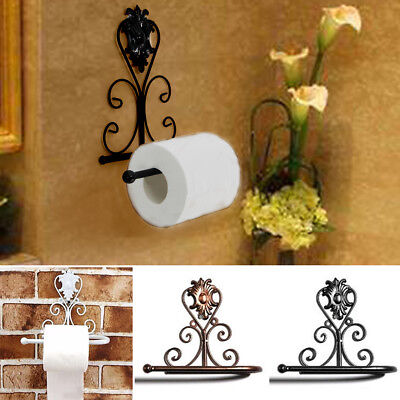 Vintage Iron Toilet Paper Roll Holder Bathroom Tissue Wall Mount Storage Hook